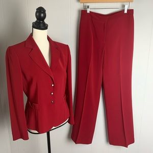 Tahari Red Pant Suit - 6P